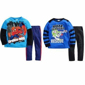 เสื้อแขนยาว กางเกงขายาว เข้าชุด 2 ชุด เด็ก อายุ 1-7 ปี ลายสไปเดอร์แมน+Buzz # 2827