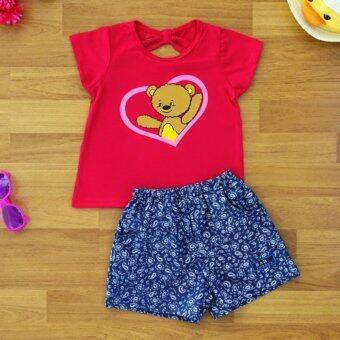 Baby Elegance เสื้อผ้า เด็กผู้หญิง เซ็ต 2 ชิ้น เสื้อแขนสั้น ลาย หมีอยู่ในหัวใจ โบว์ติดหลัง กางเกงยีนเทียมขาสั้น ไซส์ 2