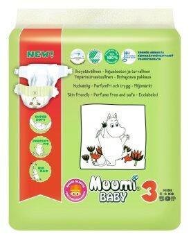 Muumi Baby ผ้าอ้อมเด็กสำเร็จรูป ชนิดเทป ไซส์ M (5-8 kg.) บรรจุ 50 ชิ้น 1 ห่อ