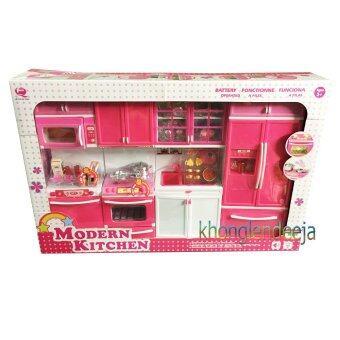 Khonglendee ชุดเซ็ทห้องครัวบาร์บี้ขนาดใหญ่ 18 นิ้ว MODERN KITCHEN สีชมพูเข้ม มีเสียงเละมีไฟ