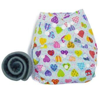BABYKIDS95 กางเกงผ้าอ้อมกันน้ำ+แผ่นซับชาโคล Size:3-16กก. (Mixed Hearts)