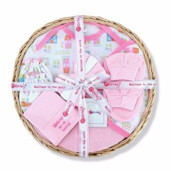 Babybrown Giftset ตะกร้า สำหรับเด็กแรกเกิด ชุด 9 ชิ้น สีชมพู