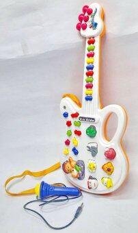 Worktoys กีต้าร์ พร้อมไมโครโฟน ของเล่นเด็กเล็ก ของเล่นทำนองเพลง เสียงสัตว์ (สีส้ม)
