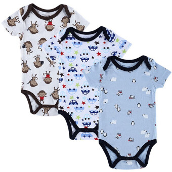 Jiayiqi 3 Piece 0-12 Months Baby Bodysuits Animal Cartoon Jumpers Rompers - intl
