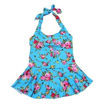 Riko ชุดว่ายน้ำเด็กหญิง ชุดว่ายน้ำวันพีช คล้องคอ สีฟ้า
