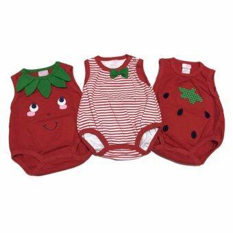 LITTLE BABY M เสื้อผ้าเด็กเล็ก บอดี้สูท set strowberry 3 ตัว