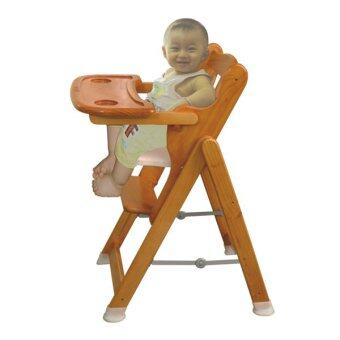 Autoru เก้าอี้ไม้นั่งทานข้าวเด็ก รุ่น High Wooden Chair- สีน้ำตาล