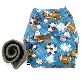 BABYKIDS95 กางเกงผ้าอ้อมกันน้ำ+แผ่นซับชาโคล Size:3-16กก. (Balls Blue)