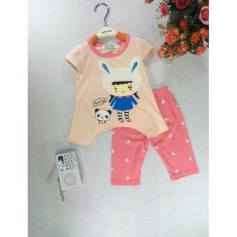 ple shop G0011 เสื้อคอกลมแขนตัดลายกระต่ายสีชมพู+กางเกงเลคกิ้งสีชมพู