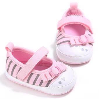 รองเท้าหัดเดิน รองเท้าเด็กอ่อน รองเท้าเด็กพื้นผ้า baby shoe Prewalker ของใช้เด็กอ่อน รองเท้าทารก รองเท้าเด็กเล็ก สีชมพู
