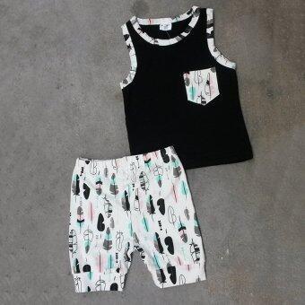 กระเป๋าเสื้อผ้าเด็กเสื้อยืดเสื้อกล้าม+ขา 2ชิ้นเซ็ต (งง)
