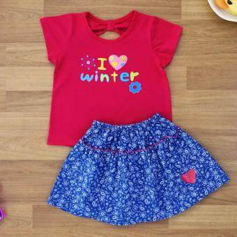 Baby Elegance เสื้อผ้า เด็กผู้หญิง เซ็ต 2 ชิ้น เสื้อแขนสั้น ลาย I Love Winter โบว์ติดหลัง กระโปรงผ้ายีนเทียม ไซส์ 2