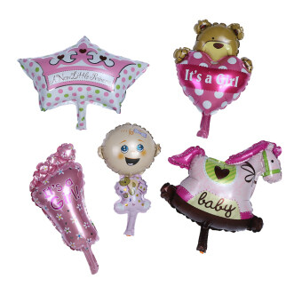 Harga 5pcs/lot Baby Shower Boys Girls Holiday Decoration Balloon Foil Girl - intl