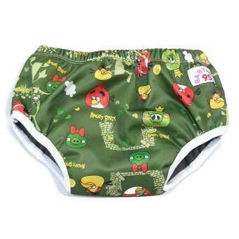 BABYKIDS95 Day Pant ชาโคล ผ้าอ้อมเอวสวม กันน้ำ A19 Size L รอบเอว 16-26 นิ้ว (Angry Bird-Green)
