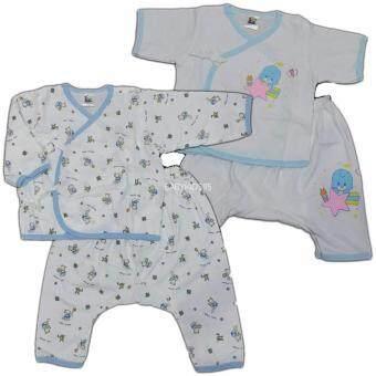 BABYKIDS95 เสื้อผูกหน้า+กางเกงเป้าต่อ Size 6-12 เดือน 2 ชุด (Blue)