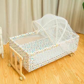 รีวิวสินค้า เตียงเด็ก เตียงนอนไม้พร้อมเปลเด็ก รุ่น HZ-E-A ฟรีมุ้งกันยุง มาใหม่
