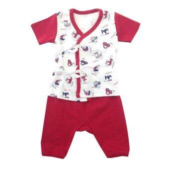 First-wear ชุดเด็กอ่อนแรกเกิด เสื้อผูกหน้าแขนสั้น/กางเกงขายาว, ลายรถ/เครื่องบิน (สีแดง-ขาว) ขนาด 0-3 เดือน