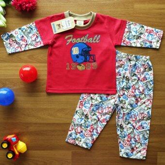 Baby Elegance ไซส์ 1 (3-6 เดือน) ชุดนอน เด็กผู้ชาย เซ็ต 2 ชิ้น เสื้อแขนยาวลายหมวกอเมริกันฟุตบอล กางเกงขายาว