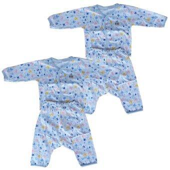 Babi Care ชุดเด็กอ่อนแขนยาว แบบกระดุมหน้า เเรกเกิด คละลายสีฟ้า (2 ชุด