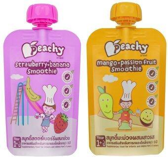 Peachy อาหารเสริมเด็ก สมูทตี้สตรอเบอร์รี่ (14 ถุง) + สมูทตี้ มะม่วง-เสาวรส (14 ถุง)