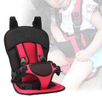 คาร์ซีทแบบพกพา เบาะนั่งนิรภัยในรถยนต์สำหรับเด็ก สีแดง