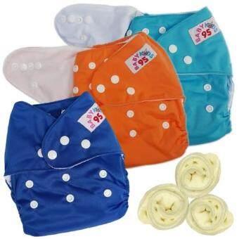 กางเกงผ้าอ้อมกันน้ำ+แผ่นซับไมโครฯ Size:3-16กก. เซ็ท3ตัว (Blue/Orange/Dark Blue)