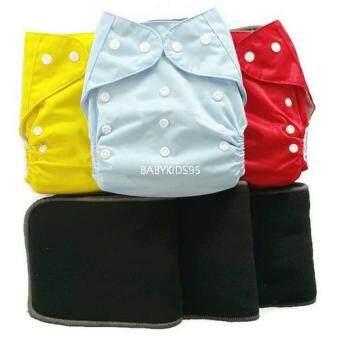 BABYKIDS95 กางเกงผ้าอ้อมซักได้ กันน้ำ TPU + แผ่นซับชาโคลหนา5ชั้น (Yellow,Light Blue,Red)