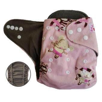 BABYKIDS95 กางเกงผ้าอ้อมชาโคลขอบปกป้อง +แผ่นซับชาโคล (Animal-Pink Minky)