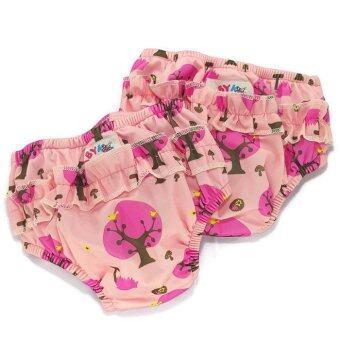 BABYKIDS95 กางเกงผ้าอ้อมว่ายน้ำ มีเป้าซับ เอวสวม เซ็ท 2 ตัว สีชมพูลายต้นไม้