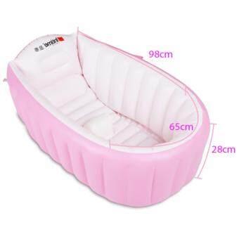 INTIME อ่างอาบน้ำเด็กแบบเป่าลมไซส์ใหญ่ ฟรีเครื่องสูบลม (ชมพู) (image 1)