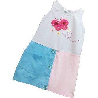 Bamboo Dress - ชุดเดรสกระโปรงสีทูโทนชมพู-ฟ้า ปักลายผีเสื้อ