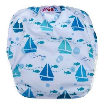 BABYKIDS95 กางเกงผ้าอ้อมว่ายน้ำ, ลงสระ ปรับขนาดได้ ไซส์เด็กแรกเกิด-7 กก. ลายเรือใบ (สีขาว)