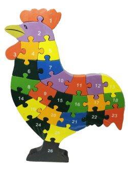 ของเล่นไม้เสริมพัฒนาการสำหรับเด็ก จิ๊กซอว์เรียงเลขและตัวอักษรภาษาอังกฤษรูปสัตว์ (ลายไก่) Wood Toy Jigsaw Chicken
