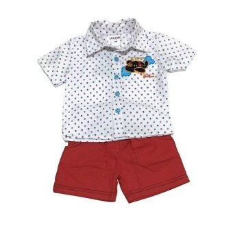 ฺBaby เซ็ทเสื้อผ้าเด็กชาย 2ชิ้น ( เสื้อเชิ๊ต + กางเกง ) เชิ๊ตขาว/แดง