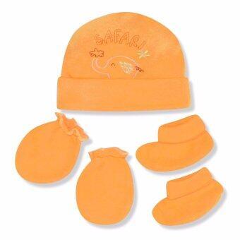 Babybrown ชุดเซ็ท หมวก ถุงมือ และถุงเท้า สีส้ม