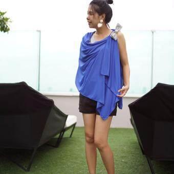 Likemelikeyou ผ้าคลุมให้นม4in1 สีน้ำเงินติดโบว์ไหมอิตาลีสีส้ม-ทอง