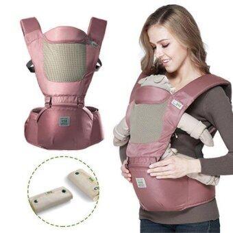 Baby Carrier+Hip Seat รุ่น aag-016 เป้อุ้มเด็กแบบมีอานนั่ง สีชมพู พร้อมผ้าซับน้ำลาย(Pink)