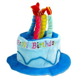 Harga Gracefulvara Novelty Short Plush Cotton Happy Birthday Candle Cake Hat Lovely Cute Cap - Blue