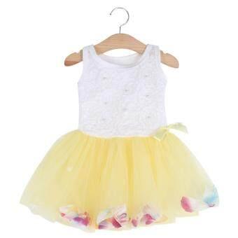 เด็กสาว Gauze เสื้อกั๊กแขนกุดสีสดกลีบรอบปกเสื้อชุดสีเหลือง (image 1)
