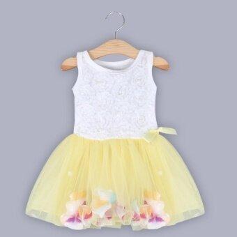 เด็กสาว Gauze เสื้อกั๊กแขนกุดสีสดกลีบรอบปกเสื้อชุดสีเหลือง (image 0)