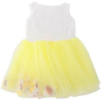 เด็กสาว Gauze เสื้อกั๊กแขนกุดสีสดกลีบรอบปกเสื้อชุดสีเหลือง (image 2)
