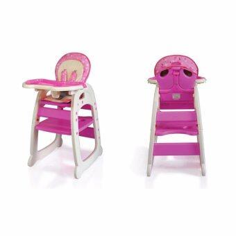 เก้าอี้กินข้าวเด็ก High Chair hc30d [เป็นโต๊ะ + เก้าอี้กินข้าว โต๊ะเขียนหนังสือ] - สีชมพู