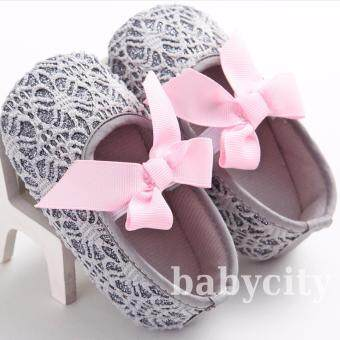 รองเท้าหัดเดิน รองเท้าเด็กอ่อน รองเท้าเด็กพื้นผ้า baby shoe Prewalker ของใช้เด็กอ่อน รองเท้าทารก รองเท้าเด็กเล็ก รองเท้าบูทเด็กอ่อน สีเทา
