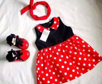 Adorable-Cชุดกระโปรงเด็ก ชุดเดรสเด็ก แขนกุด ลายจุดแดง