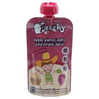 ขายยกลัง Peachy อาหารเสริมสำหรับทารกและเด็กเล็ก แอปเปิ้ลบดผสมข้าวโอ๊ตและน้ำลูกพรุน 110 กรัม ทั้งหมด 7 ถุง