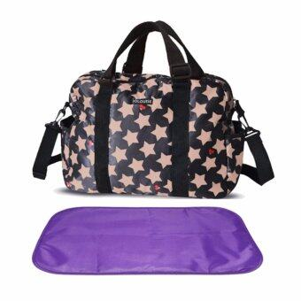 Harga Baby Diaper Nappy Bags Stars Pattern Mummy Bag Waterproof Changing Handbag (Black) - intl