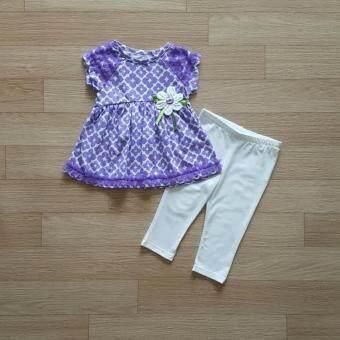 Kids Headquarters ชุดเข้าเซ็ท เสื้อลายดอกสีม่วง+กางเกงเลคกิ้งสีขาว