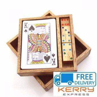ของเล่นไม้ กล่องใส่ไพ่กระดาษ พร้อมลูกเต๋า (Playing Cards Box , Cards game set)