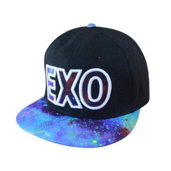 แฟชั่น EXO Snapback ปรับได้ฮิพฮอพหมวกหมวกเบสบอลเพศสีน้ำเงิน