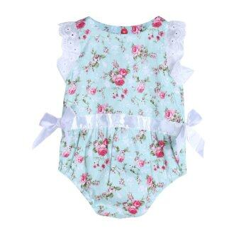 Harga Baby Girls Beautiful Floral Lace Rompers Sunsuit Bodysuit Jumpsuit - intl